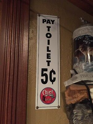 Chief Santa Fe Train Metal Sign Pay Toilet Station Box Car Ande Rooney