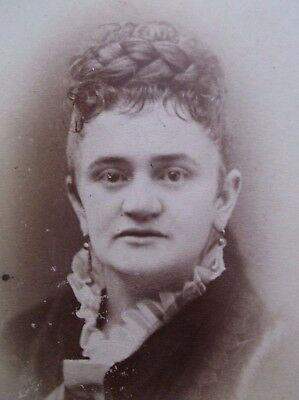 CDV Lovely Young WOman Thick Braided Bun Bangs Earrings Chicago