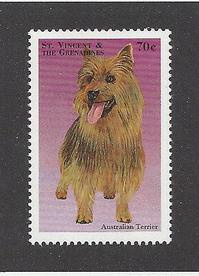 Art Full Body Portrait Postage Stamp AUSTRALIAN TERRIER DOG Saint Vincent MNH