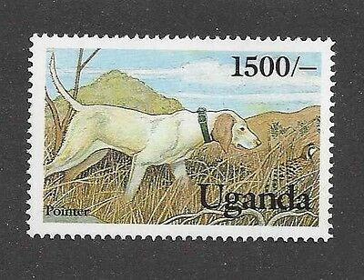Dog Art Body Study Portrait Postage Stamp ENGLISH POINTER Uganda Africa MNH