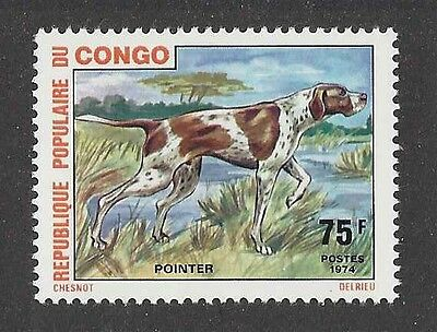 Dog Art Full Body Portrait Postage Stamp ENGLISH POINTER Congo Africa 1974 MNH