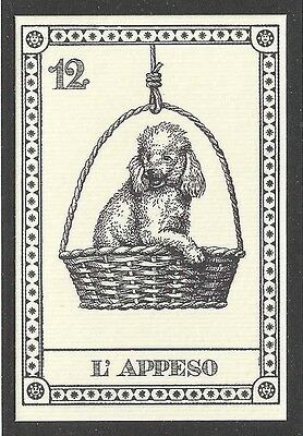 1991 Mini LE Dog Art Italy Menegazzi Single TAROT Card BICHON FRISE POODLE