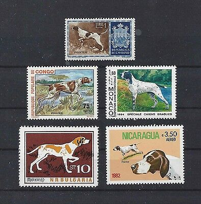Dog Art Study Portrait Postage Stamp Collection 3 ENGLISH POINTER 5 x MNH