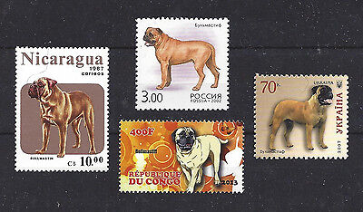 Dog Art & Photo Full Body Portrait Postage Stamp Collection BULLMASTIFF 4 x MNH