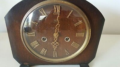 Smiths Einfield glass face chiming clock approx 1920's Made in England