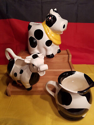 3 PIECES Holstein Cow Creamer Pitcher Small Cookie Jar could be Sugar Jar