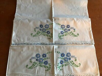 Vintage Pair Pillowcases Hand Embroidered Blue Flowers with Crochet edges