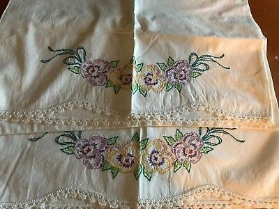 Vintage Pair Pillowcases Hand Embroidered Pansies Flowers with Crochet edges