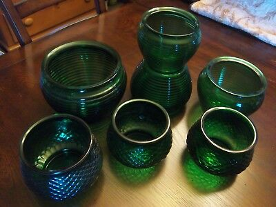 7 Vintage Green National Potteries & EO Brody Co Flower Store Vases