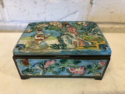 Antique Chinese Cloisonne and Brass Cigarette Box w/ 2 Trays Men Under Tree Dec.
