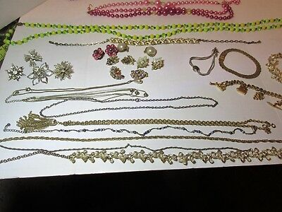 Vintage Lot of Costume Jewelry Necklaces Bracelets Earrings Brooches Chains Bead