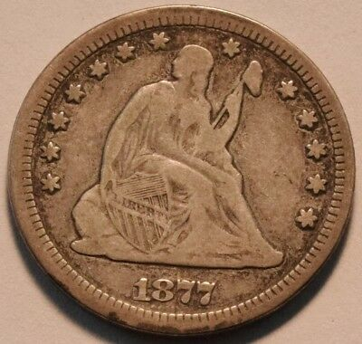 1877 CC Seated Liberty Quarter, Middle Grade Carson City, Scarce Type Silver 25C