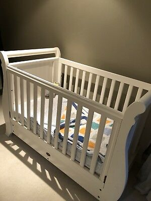 Boori Sleigh Cot 3 In 1 With Drawer & Mattress White Country Collection