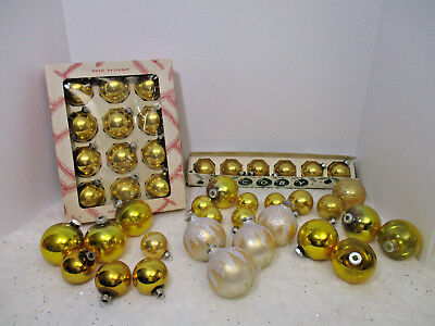Lot Of 42-Vintage Shiny Brite-Colby -Usa Glass Christmas Ornaments Gold Colored