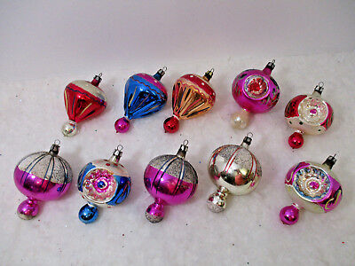 10 Vintage Poland Christmas Ornaments Hand Painted-Spinners- Indent- Very Pretty