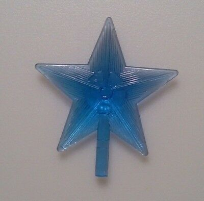 Blue Large Starburst Star Ceramic Christmas Tree Topper Vintage Lights Bulb