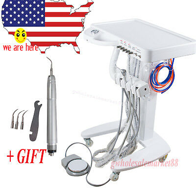 dentist use Mobile Dental unit Delivery Cart Unit 4H with ultrasonic Air scaler