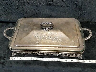 Vintage Silver Plated Chafing / Serving / Casserole Dish Pyrex Glass Cookware