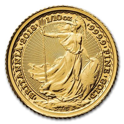 2018 ~ United Kingdom ~ 1/10~Oz ~ Gold ~ Britannia ~Bright Uncirculated~ $164.88
