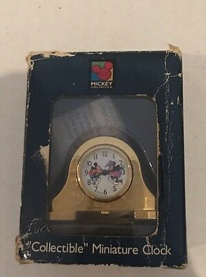 Mickey Mouse Unlimited Collectible Miniature Clock*disney*brass Plated* Mib Nib