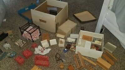 Vintage Antique Wood Metal Doll House Furniture Mixed Big Lot New