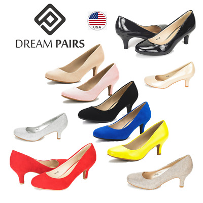 DREAM PAIRS Women Ladies Bridal Slip On Wedding Party Dress Low Heel Pumps Shoes
