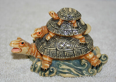 """Resin Stacked Turtles Decor   2.25"""" tall For Good Luck"""