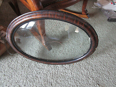 """ANTIQUE VINTAGE WOOD OVAL  FRAME CONVEX BUBBLE GLASS - Glass is 19.5"""" x 13.5"""""""