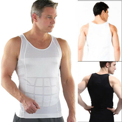 White Mens Slimming Body Shaper Vest TankTopBelly Buster Undershirt Lose Weight