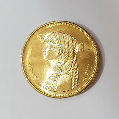 Egypt Golden 50 Piastres Queen Cleopatra Coin Unc