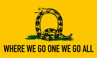 3x5 inch Q Shaped Snake on Where We Go One We Go All Flag Sticker - qanon trump