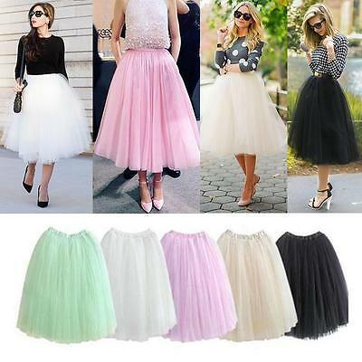 5 Layers Tutu Skirt Princess Women Lady Petticoat Ballet Tulle Long Dance Dress