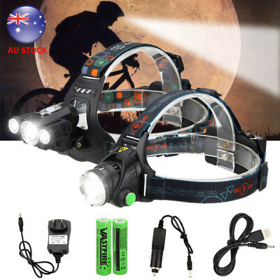 Rechargeable 15000LM XM-L T6 LED HeadLamp HeadLight Hunting Torch 18650 Lamp AU