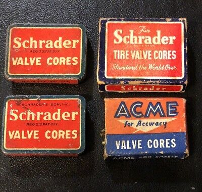 Vintage Lot Of 4:  SCHRADER & ACME Valve Cores Containers / Boxes