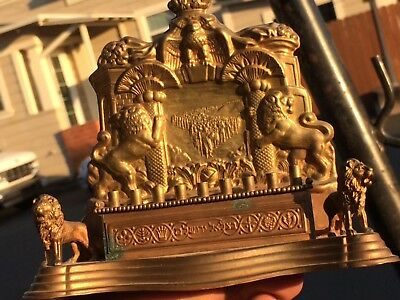 Antique Menorah Small copper with lions and Bird