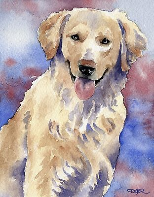 GOLDEN RETRIEVER Dog Watercolor 8 x 10 ART Print Signed by Artist DJR