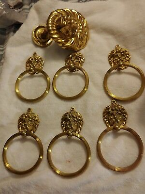 """Vintage Brass Lion's Head Curtain Tie Back and 6 Lion Head Towel Ring 4"""""""