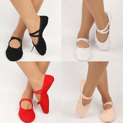 Kid Adult Canvas Soft Ballet Dance Shoes Pointe Dancing Gymnastics Slippers Note