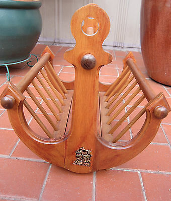 Vintage Nautical Anchor wooden magazine rack