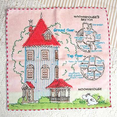 MOOMIN VALLEY cotton embroidery House sketch handkerchief mini towel New