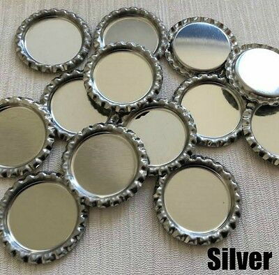 10PC Silver 35mm Flat Bottle Cap 25mm Inner Flattened Caps Metal Colour Tops DIY