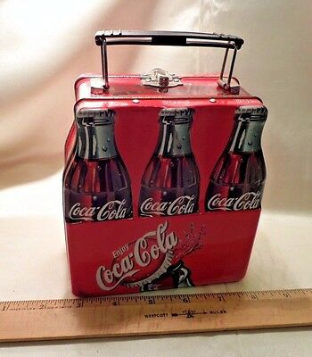 Coca Cola Red Lunch Box, Looks Like A 6-Pack, Metal Handle, Goldtone Interior