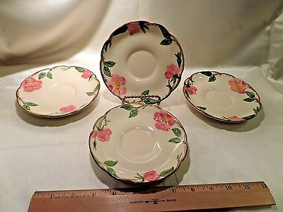 "4 Franciscan Desert Rose Saucers, With ""tv"" Logo On Reverse Side, Ca. 1960"