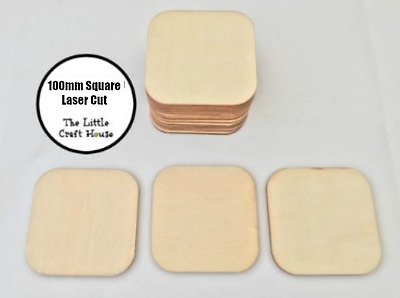 6 x 100mm Wooden Square Laser Cut Shape Ply Blank Coaster Craft Squares Wood DIY