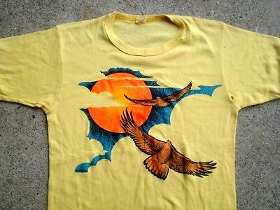 Vintage 70's Eagle & Sun T-shirt Men's XS women's M Transfer Print