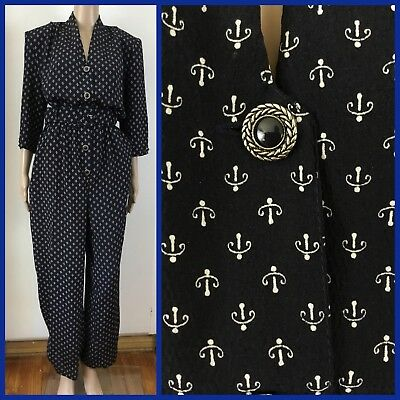 VINTAGE KATIES 80's Retro BLUE JUMPSUIT & BELT Power Shoulders 16