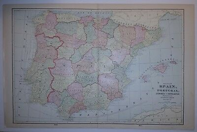 1898 SPAIN Map from Cram's Atlas Map 14 inch x 23 inch Color M10