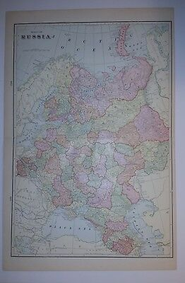 1898 RUSSIA Map from Cram's Atlas Map 14 inch x 23 inch Color M10