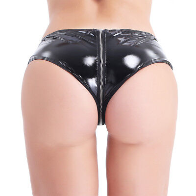 Sexy Women's Thong Latex Leather G-string Underwear Knicker Bikini Panties S-XXL