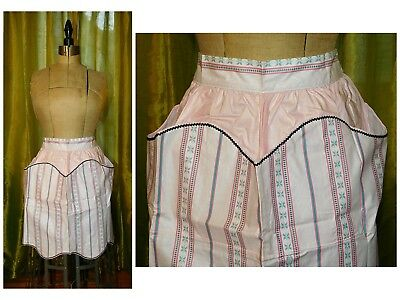 Vintage 1940's Cotton APRON Novelty Print Pink Pockets NEW Unused NOS